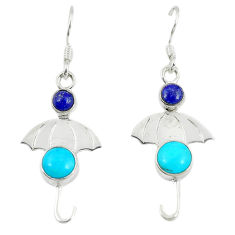 Clearance Sale- Blue sleeping beauty turquoise 925 silver dangle earrings jewelry d14205