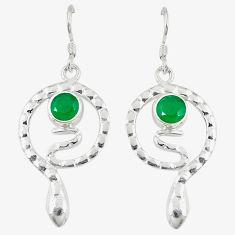 Clearance Sale- Green emerald quartz 925 sterling silver snake earrings jewelry d14218
