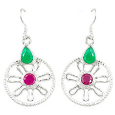 Clearance Sale- Red ruby green emerald quartz 925 silver dangle earrings jewelry d14222