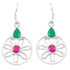 Clearance Sale- 925 sterling silver green emerald red ruby quartz dangle earrings d14277