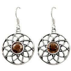 Clearance Sale- ver brown smoky topaz dangle earrings jewelry d14944