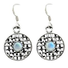 Natural rainbow moonstone 925 sterling silver dangle earrings jewelry d14958