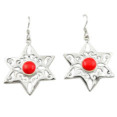 Clearance Sale- Red coral round shape 925 sterling silver dangle earrings jewelry d14968