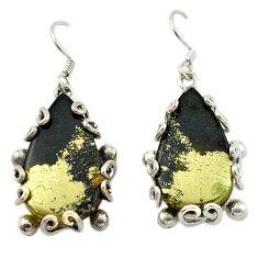 Golden pyrite in magnetite (healer's gold) 925 silver dangle earrings d14981