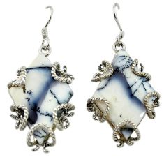 Clearance Sale- Natural white dendrite opal (merlinite) 925 silver dangle earrings d14982