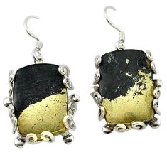Golden pyrite in magnetite (healer's gold) 925 silver dangle earrings d14986
