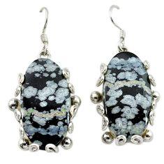 Clearance Sale- Natural black australian obsidian 925 silver dangle earrings jewelry d14989