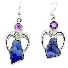 Clearance Sale- 925 silver natural blue tanzanite rough purple amethyst dangle earrings d14997