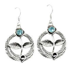 925 sterling silver natural blue topaz dangle earrings jewelry d15019