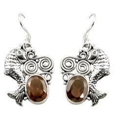 925 sterling silver brown smoky topaz oval fish earrings jewelry d15027