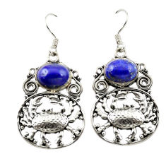 Clearance Sale- Natural blue lapis lazuli 925 sterling silver crab earrings jewelry d15048
