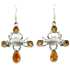 Clearance Sale- Yellow citrine quartz smoky topaz 925 silver crab earrings jewelry d15050
