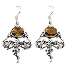 Brown smoky topaz 925 sterling silver cupid angel wings earrings d15059