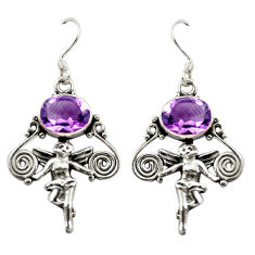 925 silver natural purple amethyst cupid angel wings earrings jewelry d15065