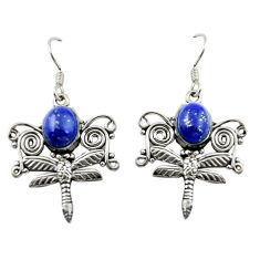 Natural blue lapis lazuli 925 sterling silver dragonfly earrings d15075