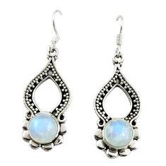 Natural rainbow moonstone 925 sterling silver dangle earrings d15098