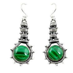 Natural green malachite (pilot's stone) 925 silver dangle earrings d15106