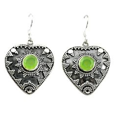 Natural green prehnite 925 sterling silver dangle earrings d15122