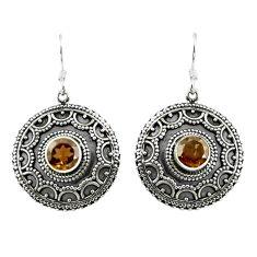 Clearance Sale- Brown smoky topaz 925 sterling silver dangle earrings jewelry d15126