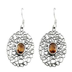 Brown smoky topaz 925 sterling silver dangle earrings jewelry d15138