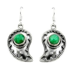 Natural green emerald 925 sterling silver dangle earrings jewelry d15141