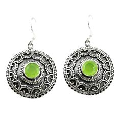 Natural green prehnite 925 sterling silver dangle earrings jewelry d15142