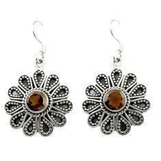Clearance Sale- Brown smoky topaz 925 sterling silver dangle earrings jewelry d15146