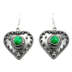 Natural green emerald 925 sterling silver dangle earrings jewelry d15151