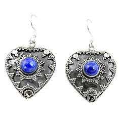Clearance Sale- Natural blue lapis lazuli 925 sterling silver dangle earrings d15158