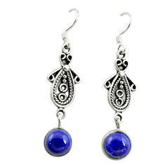 Clearance Sale- Natural blue lapis lazuli 925 sterling silver dangle earrings d15163