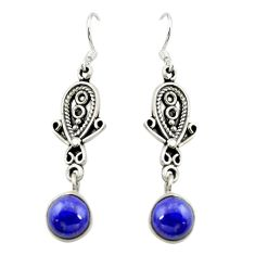 Clearance Sale- 925 sterling silver natural blue lapis lazuli dangle earrings jewelry d15175