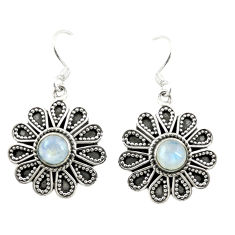 Clearance Sale- Natural rainbow moonstone 925 sterling silver dangle earrings d15178