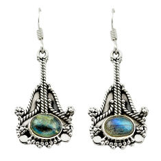 Clearance Sale- Natural blue labradorite 925 sterling silver dangle earrings d15481