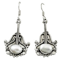 Clearance Sale- Natural white pearl 925 sterling silver dangle earrings jewelry d15491