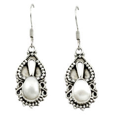 Clearance Sale- 925 sterling silver natural white pearl dangle earrings jewelry d15505
