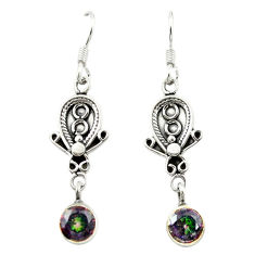 Clearance Sale- Multi color rainbow topaz 925 sterling silver dangle earrings jewelry d15511