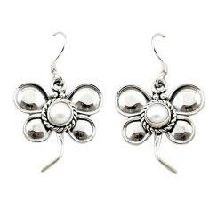 Clearance Sale- Natural white pearl 925 sterling silver dangle earrings jewelry d15513