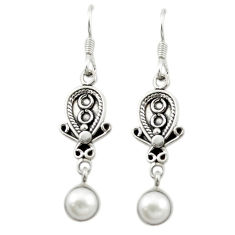 Clearance Sale- Natural white pearl 925 sterling silver dangle earrings jewelry d15515