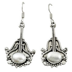 Clearance Sale- Natural white pearl 925 sterling silver dangle earrings jewelry d15517