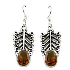 Brown smoky topaz 925 sterling silver dangle earrings jewelry d15521