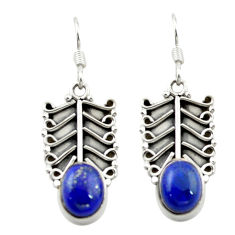 Natural blue lapis lazuli 925 sterling silver dangle earrings jewelry d15545