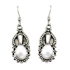 Clearance Sale- Natural white pearl 925 sterling silver dangle earrings jewelry d15546