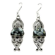 Clearance Sale- Natural black australian obsidian 925 silver dangle earrings jewelry d15552