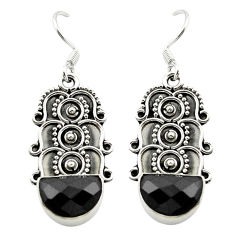 Natural black onyx 925 sterling silver dangle earrings jewelry d15554