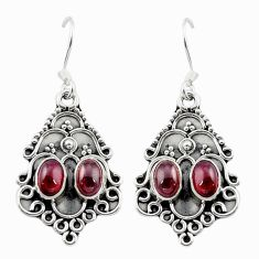 Clearance Sale- Natural red garnet 925 sterling silver dangle earrings jewelry d15559