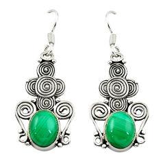 Natural green malachite (pilot's stone) 925 silver dangle earrings d15569