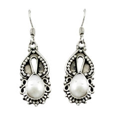 Clearance Sale- Natural white pearl 925 sterling silver dangle earrings jewelry d15571