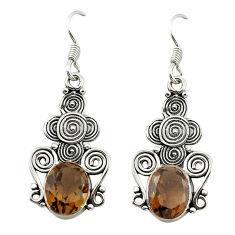 Clearance Sale- Brown smoky topaz 925 sterling silver dangle earrings jewelry d15577