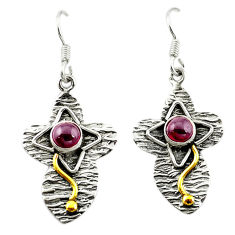 Clearance Sale- Natural red garnet 925 sterling silver 14k gold dangle earrings jewelry d15589