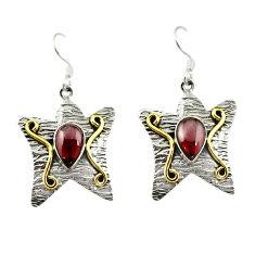 Clearance Sale- 925 sterling silver natural red garnet 14k gold dangle earrings d15605